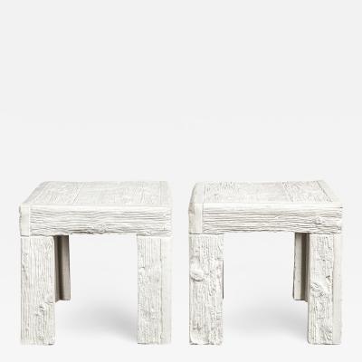 John Dickinson John Dickinson Pair of Rare End Tables with Wood Motif 1970s Signed