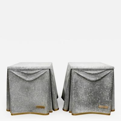 John Dickinson John Dickinson Pair of Rare Galvanized Steel End Tables 1970s
