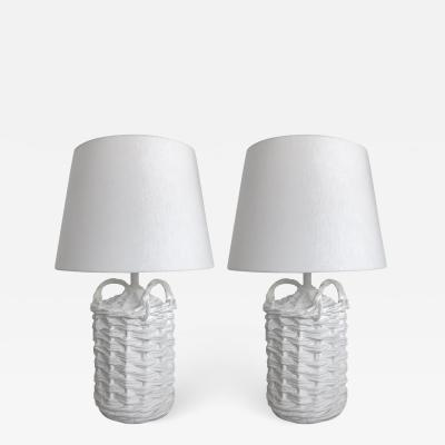 John Dickinson Pair of Woven Plaster Wine Basket Lamps