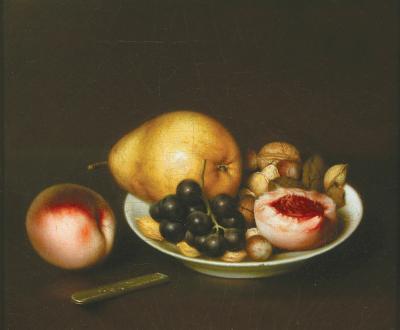 John Durrie Pear Black Grapes Walnuts Peach and Plate