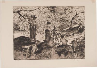 John Edward Costigan Bathers by John E Costigan Original Limited Edition Signed Etching