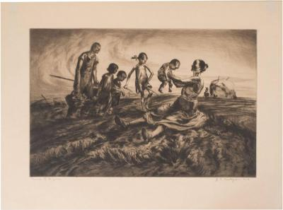 John Edward Costigan Group of Figures an Original Signed Etching by John E Costigan Circa 1930