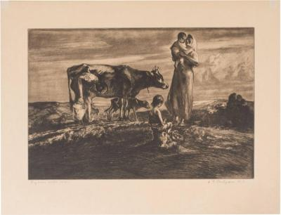 John Edward Costigan John Costigan Signed Original Pastoral Etching by John E Costigan Circa 1930