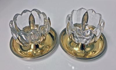 John Emes Georgian Silver and Glass Lily design Master Salts London 1799 John Emes