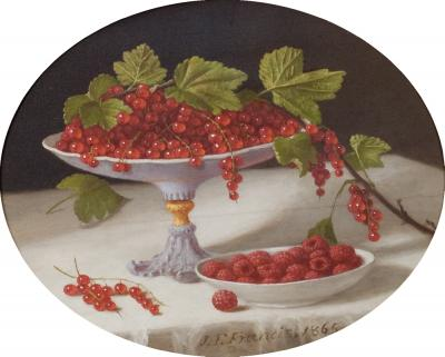 John F Francis Still Life with Currants and Raspberries 1865