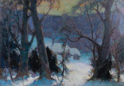 John Fabian Carlson Oil on canvas winter landscape