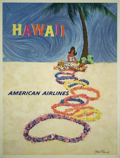 John Fernie Hawaii a Vintage American Airlines Travel Poster by John Fernie circa 1955