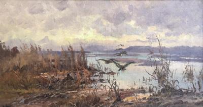 John Fery Ducks over the Marsh