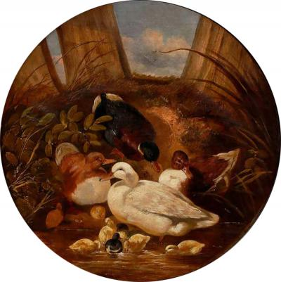 John Frederick Herring Ducks and Ducklings 19th Century Oil Painting by J F Herring Sr