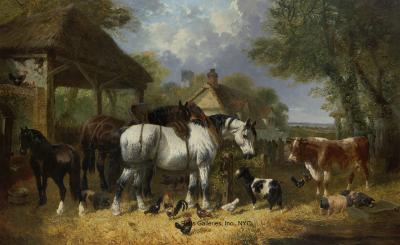 John Frederick Herring Jr Horses Goat Cow Pigs and Poultry in a Farmyard