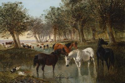 John Frederick Herring Jr Watering Horses