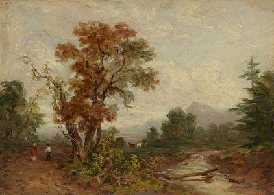 John Frederick Kensett Landscape with Figures