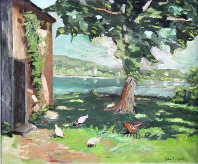 John Fulton Folinsbee Feeding the Chickens
