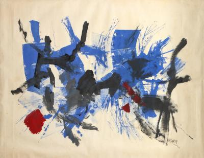 John G F Von Wicht Untitled Blue Oil on Paper by John von Wicht