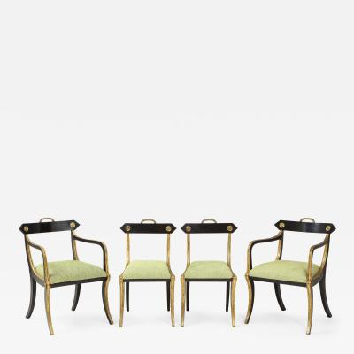 John Gee Set of four Regency black painted and gilded chairs