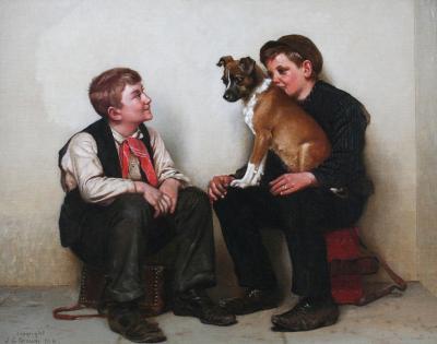 John George Brown Two Shoeshine Boys with a Dog