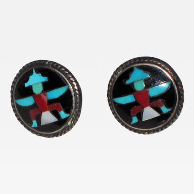 John Gordon Leakity Zuni mosaic inlay earrings with sungod design