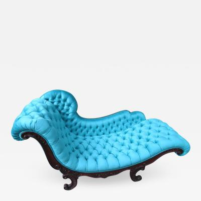 John Henry Belter Magnificent Victorian John Henry Belter Attributed Rosewood Tufted Chaise Longue