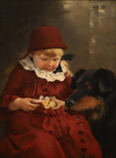 John Henry Witt LITTLE GIRL SHARING CAKE WITH HER DOG