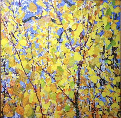 John Hogan Aspens Mixed Media Painting Yellow Leaves Blue Sky
