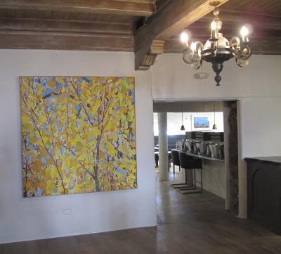 John Hogan Aspens Mixed Media Painting Yellow Leaves Blue Sky