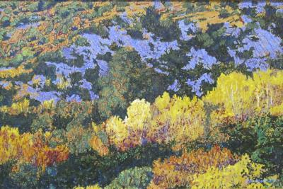 John Hogan Autumn Aspens Rio En Medio New Mexico Landscape Painting Yellow Blue Green