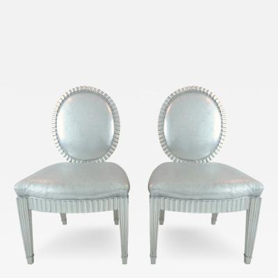 John Hutton Pair of Neoclassical Silver Leaf Chairs by John Hutton for Donghia