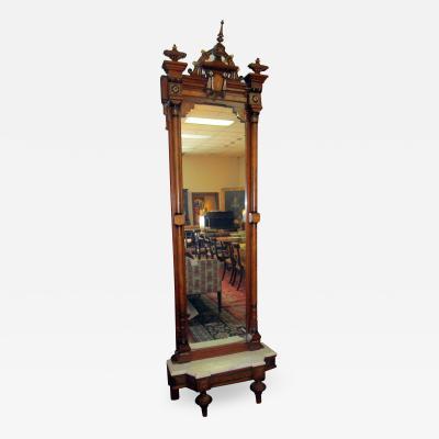John Jeliff 19th Century Renaissance Revival Burled Walnut Pier Mirror
