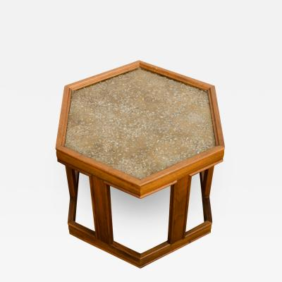 John Keal A handsome hexagonal walnut side table with gold copper pebbled resin design