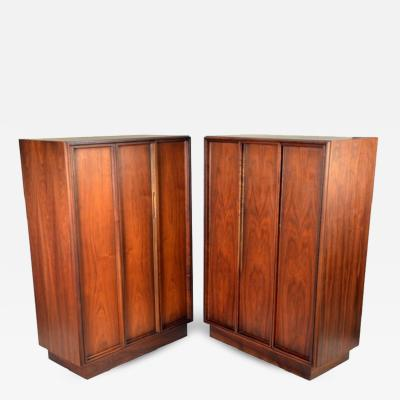 John Keal Exceptional Pair of Walnut Cabinets by John Keal for Brown Saltman