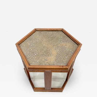 John Keal John Keal Brown Saltman Hexagon Walnut Side Table Glass Textured Enamel 1960s