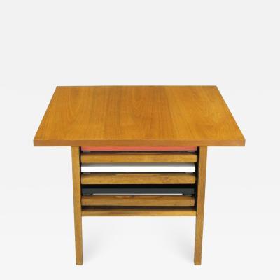 John Keal John Keal Walnut Coffee Table with Three Folding Side Tables