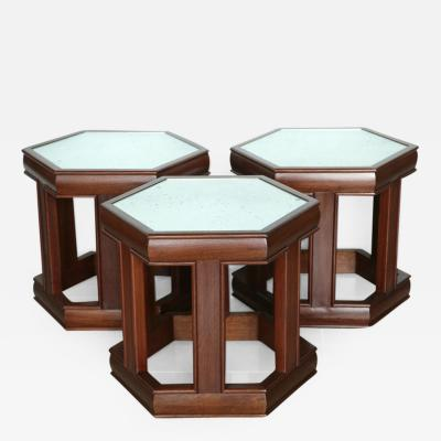 John Keal Mahogany and Mirrored Occasional Tables
