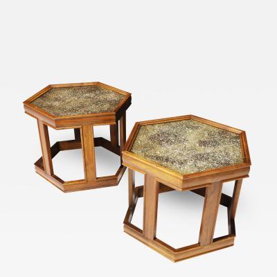 John Keal Pair of Brown Saltman Hexagon Tables