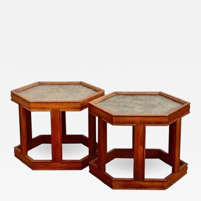 John Keal Pair of John Keal for Brown Saltman Hexagonal Side Tables