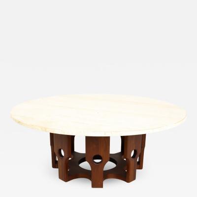 John Keal for Brown Saltman Mid Century Walnut and Travertine Coffee Table