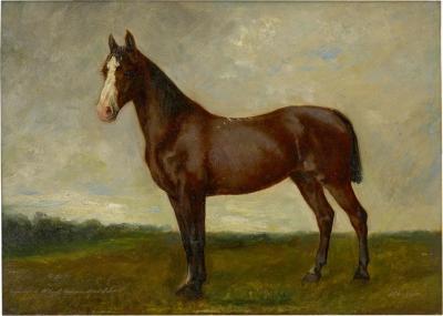 John Lewis Shonborn John Lewis Shonborn American 1852 1931 Equestrian Thoroughbred Oil Painting