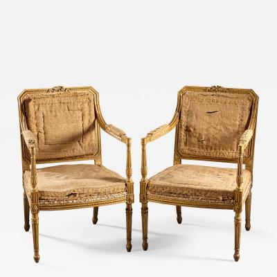 John Linnell A Pair of 18th Century English Giltwood Armchairs