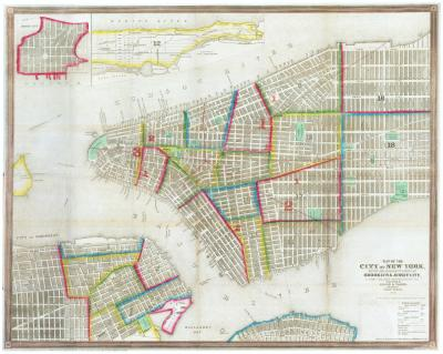 John M Atwood Mid 19th century town plan of New York City