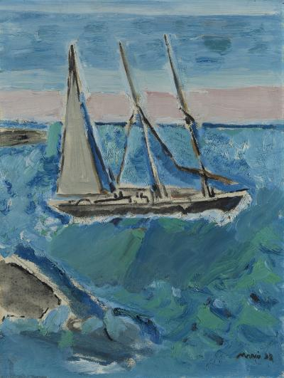 John Marin Sail Boat and Sea Maine 1938