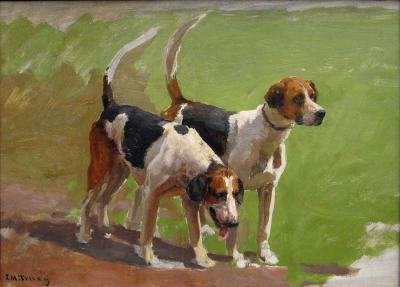 John Martin Tracy Study of Two Foxhounds