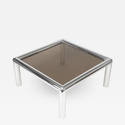 John Mascheroni 1960s John Mascheroni Aluminum and Smoked Glass Tubo Coffee Table