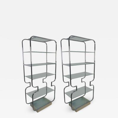 John Mascheroni Pair of Mid Century Modern Polished Chrome and Glass Etageres