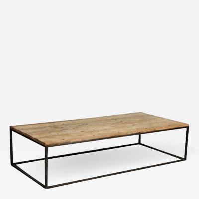 John McDevitt 17th Century Spanish Oak Top Low Table on Contemporary Steel Base