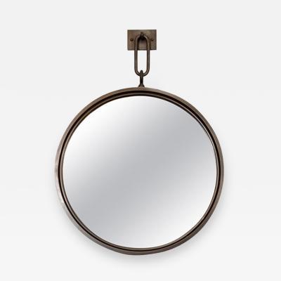 John McDevitt A 24 Patinated Steel Circular Pendant Mirror