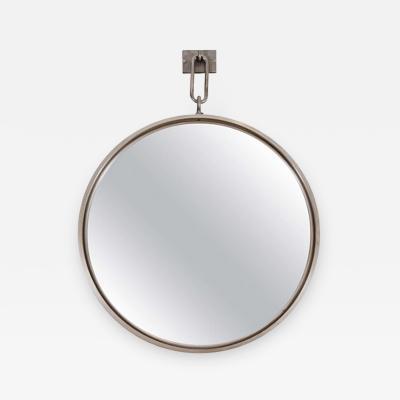 John McDevitt A 28 Patinated Steel Circular Pendant Mirror