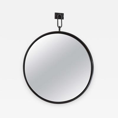 John McDevitt A 32 Patinated Steel Circular Pendant Mirror