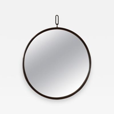 John McDevitt A 42 Patinated Steel Circular Pendant Mirror