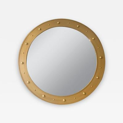 John McDevitt A 57 5 Circular Steel Mirror with Bosses in Gold Finish
