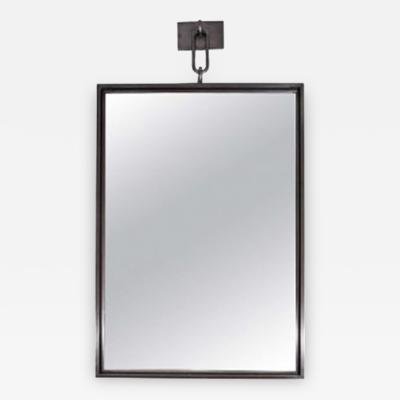John McDevitt A Patinated Steel Rectangular Pendant Mirror Larger Size